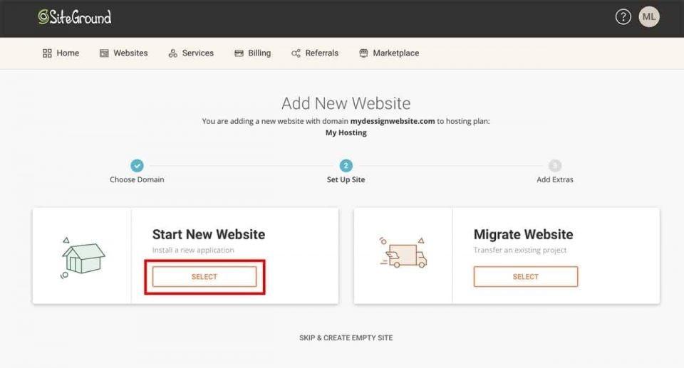 Démarrer un nouveau site Web