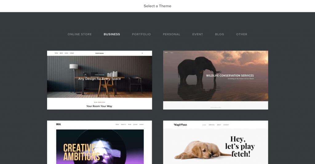 Comment créer un site Web professionnel gratuitement - Weebly Étape 2