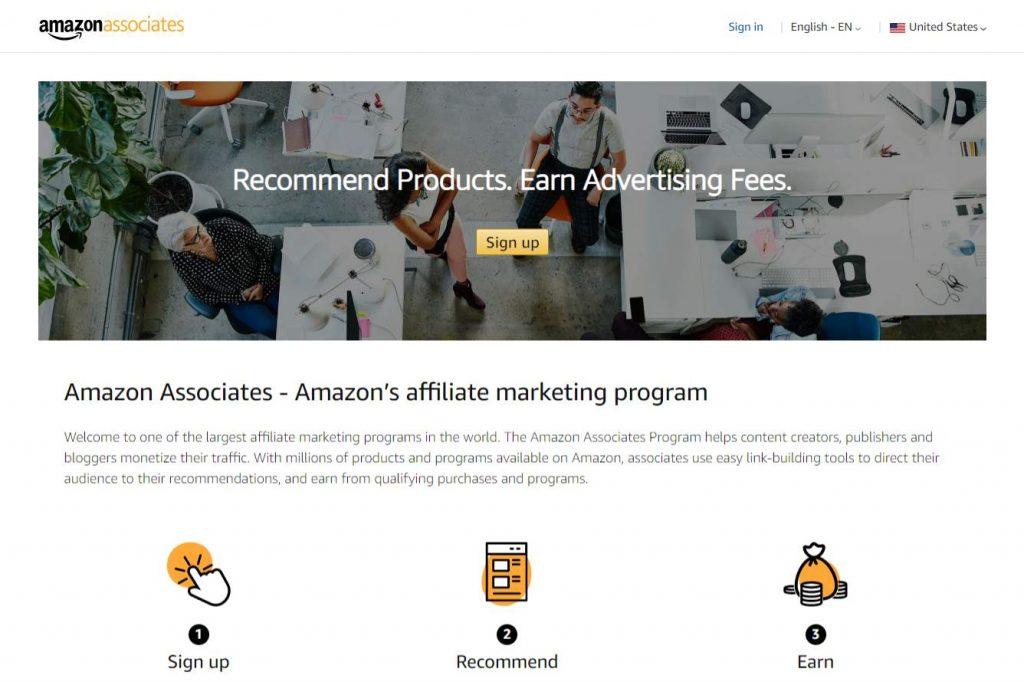 Page d'accueil d'Amazon Associates - Devenir un affilié Amazon