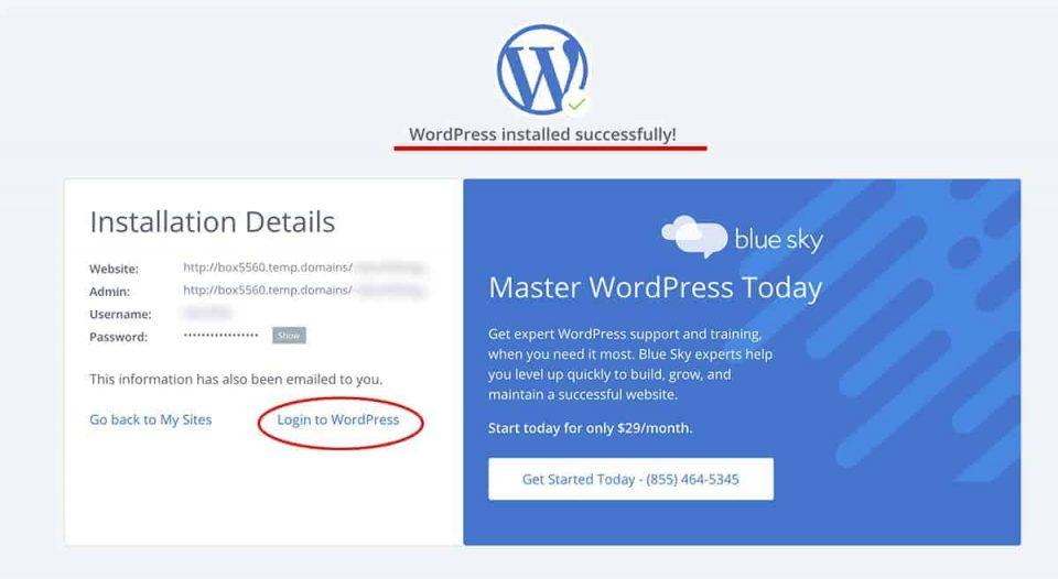 WordPress installé avec succès