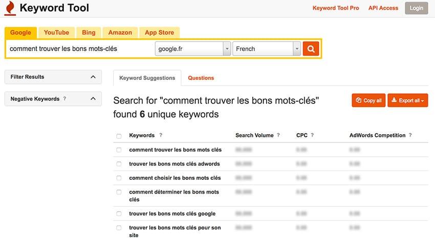 Comment trouver les meilleurs mots-clés - keywordtool.io