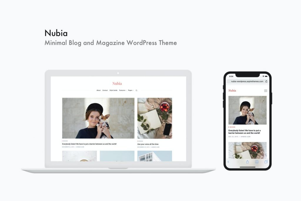 Nubia - Thème WordPress Minimal pour Blog et Magazine