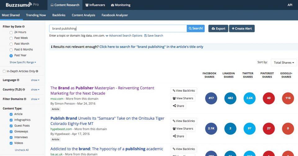 Outil BuzzSumo pour l'analyse de contenu