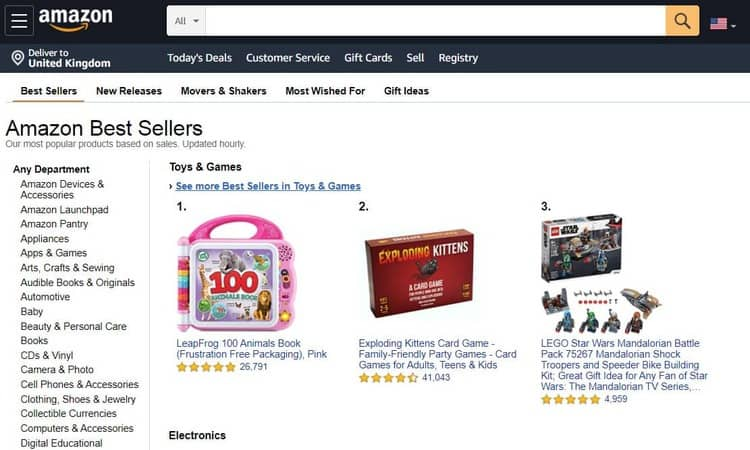 articles les plus vendus d'Amazon