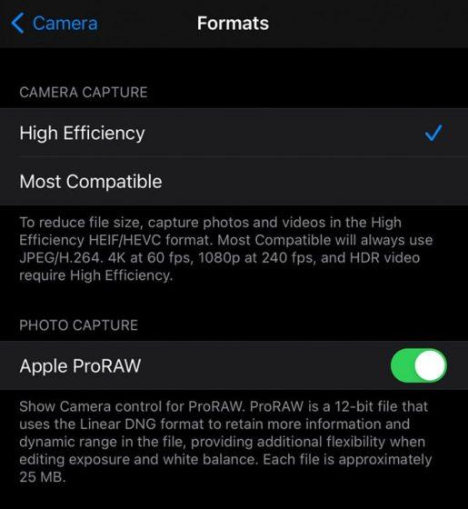 Caméra iPhone 12 ProRAW
