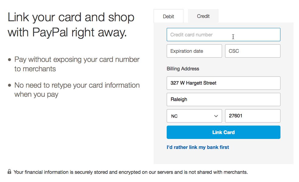 saisie des informations de carte de crédit