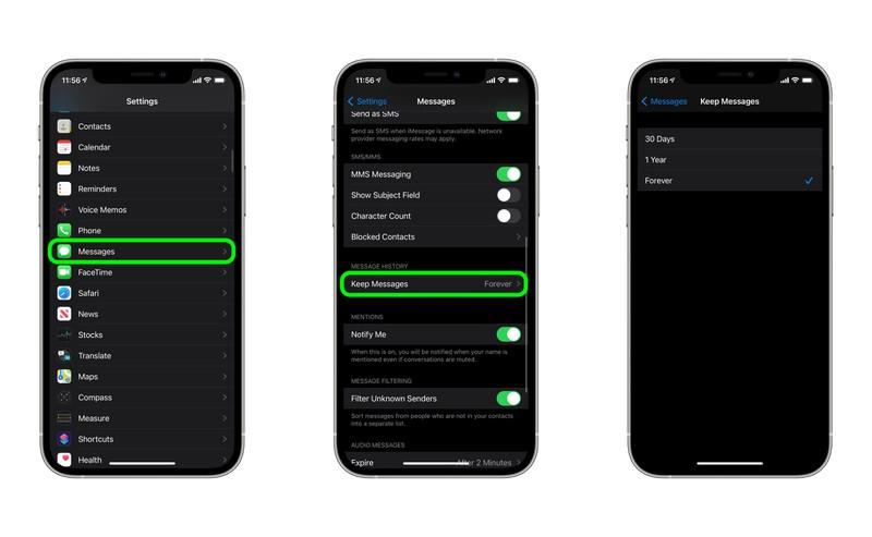 supprimer automatiquement les anciennes conversations sur l'iPhone et l'iPad