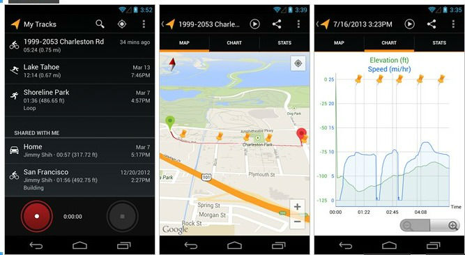 Application vélo My Tracks pour android