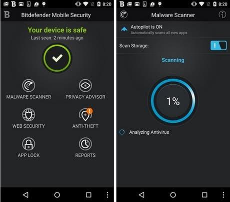 Capture d'écran de l'application Bitdefender Mobile Security & Antivirus