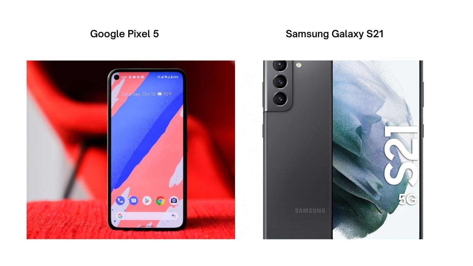 DESIGN : Samsung Galaxy S21 vs Google Pixel 5